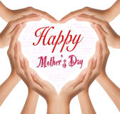 Heart for happy mother day. Hands make heart shape for happy mother day Stock Photo