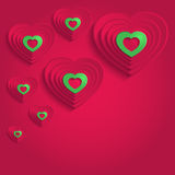 Heart happy valentine day paper 3D red green Stock Photos