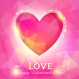 Heart. Happy Valentine's Day Card in Polygonal Style. Template f. Or design greeting card, wedding invitation, Valentines day background Royalty Free Stock Photos