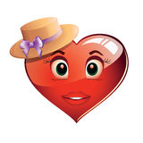 Heart in the hat. A merry red heart in a yellow summer hat smiling. Purple Valentine Heart in a hat with a purple bow. Clip on a white background Royalty Free Stock Photography