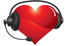Heart headphones Stock Photo