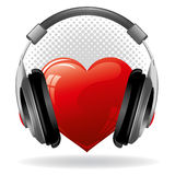 Heart with headphones Stock Photos