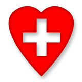 Heart Healing. Red heart with medical cross over white background Stock Photo