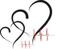 Heart health. Abstract hearts drawn by brush with cardiac on a white background Royalty Free Stock Photography