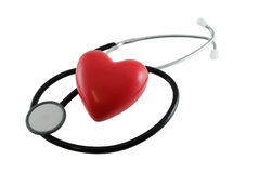 Heart Health. Stethoscope and heart shape isolated on white Stock Image
