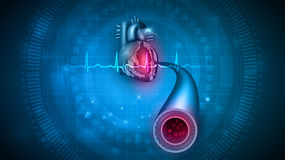 Heart health care. Abstract design, cardiogram and blood vessel Royalty Free Stock Photography