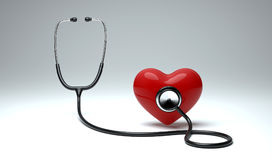 Red heart and a stethoscope. Heart health care concept background. Heart health care for human life stock images