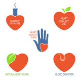 Heart health care icons Stock Images