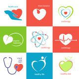 Heart health care icons Royalty Free Stock Image