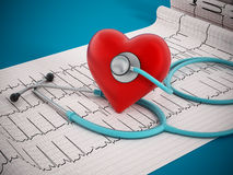 Heart health. Concept with stethoscope standing on medical reports Stock Images