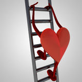 Heart health figure climb up on metallic ladder Royalty Free Stock Images