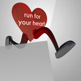 Heart health figure runner black and white background Royalty Free Stock Photos