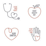 Heart health icons set Stock Photo