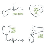 Heart health icons set Royalty Free Stock Image