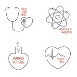 Heart health icons set Stock Image