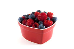 Heart healthy blueberries and raspberries. Stock Photography