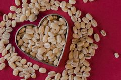 Heart Healthy dry hulled barley. The top down view of uncooked hulled barley in a heart shape Royalty Free Stock Images