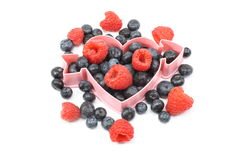 Heart Healthy Fresh Berries. Blueberries, raspberries, strawberries with heart shape Stock Photo