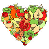 Heart from healthy fruit and berry. Eco background Stock Photos