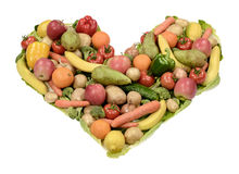 Heart. Healthy fruits and vegetables food heart Royalty Free Stock Photo