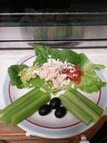 Heart Healthy Lunch. Romaine lettuce, tunafish, guacamole, bruschetta, blue cheese, celery, black olives Stock Images