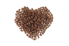 Heart of heap roasted coffee beans isolated on white background. Heart of heap roasted coffee beans isolated white background Stock Images