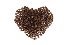 Heart of heap roasted coffee beans isolated on white background. Heart of heap roasted coffee beans isolated  white background Stock Image