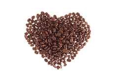 Heart of heap roasted coffee beans isolated on white background. Heart of heap roasted coffee beans isolated  white background Royalty Free Stock Photography