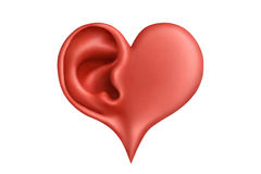 Heart&hearing. Red plasticine heart and ear Royalty Free Stock Image