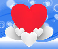 Heart On Heart Clouds Shows Romantic Imagination Royalty Free Stock Images