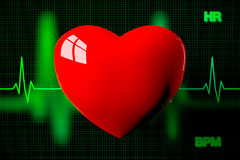 Heart with Heart Rate Graph Background, 3D Rendering Royalty Free Stock Photos