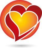 Heart, heart in red, logo. Heart, heart in red, Two Hearts logo Royalty Free Stock Photo