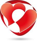 Heart, heart in red, logo. Heart, heart in red, Two Hearts logo Stock Photos