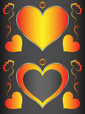 Heart, heart-shaped black frame with orange hearts and flowers. Frame for decoration Royalty Free Stock Photo
