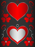 Heart, heart-shaped black frame with red hearts and flowers. Frame for decoration Royalty Free Stock Images
