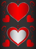Heart, heart-shaped black frame with red hearts and flowers. Frame for decoration Stock Photography