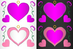 Heart, heart-shaped frame with hearts and flowers. Frame for decoration Stock Photos