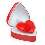 Heart in a heart shaped gift box Stock Photos