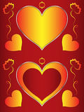Heart, heart-shaped red frame with orange hearts and flowers Stock Images