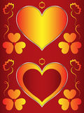 Heart, heart-shaped red frame with orange hearts and flowers Royalty Free Stock Photos