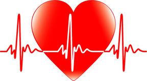 Heart and heartbeat Royalty Free Stock Image