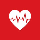 Heart with heartbeat icon with shadow on a red background Stock Photos