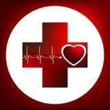 Heart and heartbeat symbol. EPS 8 Stock Photo