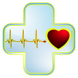 Heart and heartbeat symbol. EPS 8 Royalty Free Stock Photo