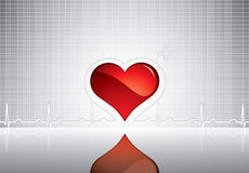Heart and heartbeat symbol on reflective surface Royalty Free Stock Images
