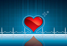 Heart and heartbeat symbol on reflective surface Royalty Free Stock Photo
