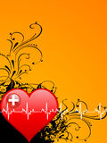Heart and heartbeats. On floral background Royalty Free Stock Image