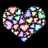 Heart of hearts 1. Heart of hearts in color with black background Royalty Free Stock Photography