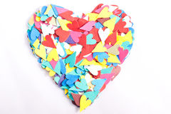 Heart of Hearts. Small multicoloured hearts arranged into the shape of a heart on a white background Stock Image