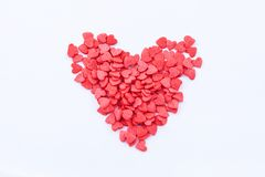 Heart of hearts. Heart shape consists of small read hearts on the white background Royalty Free Stock Images
